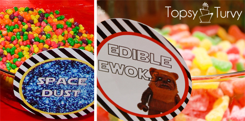 Lego-Star-Wars-birthday-party-food-space-dust-edible-ewoks