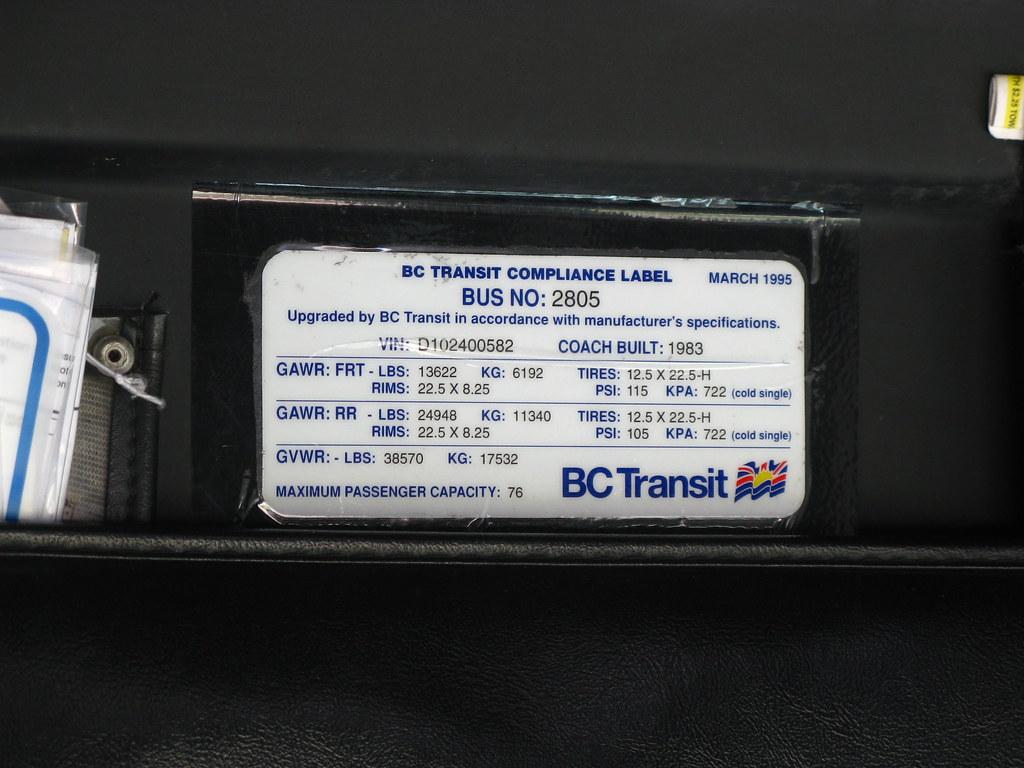 2805 (BC Transit Compliance Label)