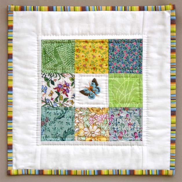 Fiona the Calico Kitten's Butterfly Mini Quilt, Original One-of-a-kind Folk Art Doll and Quilt by Elizabeth Ruffing