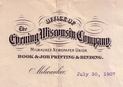 evening wisconsin company letterhead