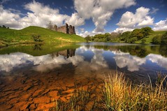 Morton castle reflection (Kenny Muir) Tags: reflection castle water landscape scotland bravo ruin loch morton thornhill supershot abigfave