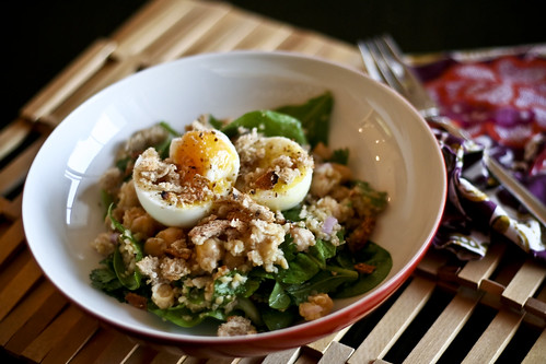 chickpea & bulgur salad w/soft boiled egg & breadcrumbs