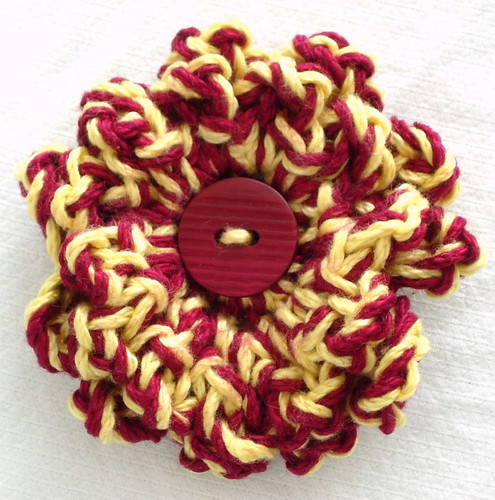 Crochet Flower and Vintage Button Gryffindor House Pride Brooch