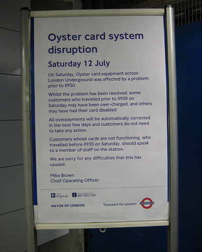 Oyster Card system disruption