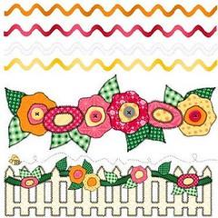 Cerca e flores (Lucia Helena Cesar) Tags: flores cerca molde riscos aplique aplicao patchcolagem