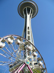 Space Needle with Ferris Wheel at Fun Forest