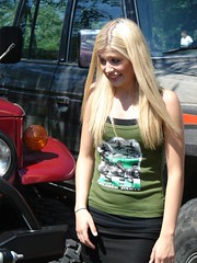 Surprised (Tjflex2) Tags: family woman canada cute girl vancouver fun pretty bc 4x4 posing sunny days blonde toyota trucks colourful landcruiser offroaders fourwheeldrive shortskirt showandshine coastalcruisers