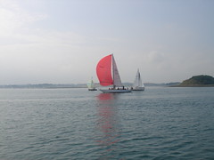 Killyleagh Regatta (snoroma) Tags: red sea yacht calm sail regatta ripples spinaker strangfordlough killyleagh lightairs dunnyneillisland magdalyne nicholson43 gbr3164