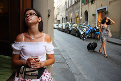 Tired of the heat (Pawel Boguslawski) Tags: street portrait people italy hot canon florence women action tired firenze 40d