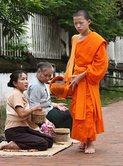 young novice (detengase) Tags: boy orange colour feet boys colors canon foot eos asia asien southeastasia prayer religion culture monk buddhism unesco monks barefoot tradition laos luangprabang offerings alms moine louangphrabang novices northernlaos theravadabuddhism
