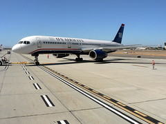 US Airways Boeing 757 at SNA (garyhymes) Tags: tarmac airport ramp aircraft flight jet airline boeing arrival orangecounty departure runway tow 757 usair usairways sna 914 johnwayneairport boeing757 staralliance 757200 onlythebestare n914aw