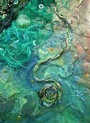 Detail Danger at sea 3 (Karen Cattoire) Tags: original abstract art collage handmade lace originalart creation fabric fiberart beading fibers acrylicpaint textileart tissu abstrait textiledart karencattoire fibretextile arttexilte