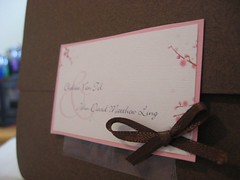 Wedding Invite - Outside (chelstastic) Tags: pink flowers wedding party brown paper cards diy blossom map handmade feminine blossoms cream marriage reception invitation bow envelope font cherryblossoms ribbon elegant accomodations rsvp youreinvited pinkandbrown nuptuals papercrafting weddinginvite asianinspired sohpisticated pocketenvelope