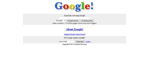 Google's First Search Engine Look
