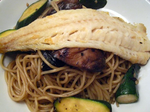 Grilled Cod with Noodles and Vegetables