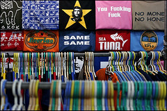 T-shirts - Bangkok (Maciej Dakowicz) Tags: street travel sea tourism shop thailand clothing asia bangkok fake tshirt tourist backpacker khaosan khaosanroad samesame