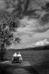 Elderly Couple at Garda Lake BW