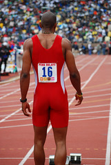 Seeing Red (Starmaker Photos) Tags: carnival man black male college sports field race photography athletic athletics university track pennsylvania muscular running run penn africanamerican runner sprint 2008 hurdles relays sprinting bopr