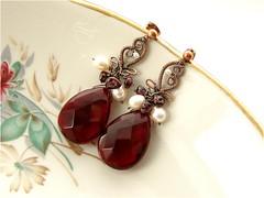 """Earrings """"Juicy Autumn"""" (LucyFun) Tags: copper huge earrings garnet freshwaterpearls glassquartz glassfreshwaterpearls"""