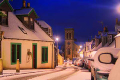 Dunlop Church (BoboftheGlen) Tags: uk snow tower church parish night scotland dunlop ayrshire