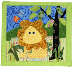 lion wallhanging (Ronnie Lewison) Tags: collage colorful lion applique whimsical wallhanging artquilt rawedge