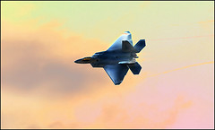 F-22 Raptor into the Sunset (Magic_Man) Tags: sunset clouds fighter jets airshow stealth condensation f22 f22raptor miramarairshow miramarairshow2008