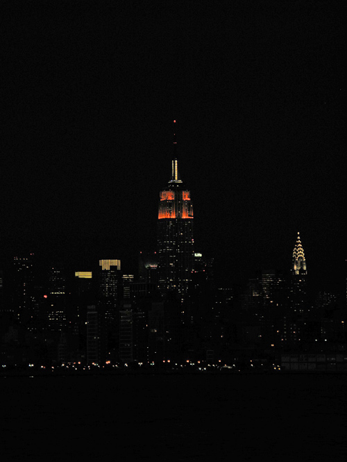 the Empire State Building and Chrysler Building at night, Manhattan, NYC