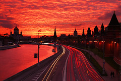 On fire (Andrey Permitin) Tags: friends sunset red tower church reflections colorful moscow lighttrails soe kremlin         nikond200  slihouettes tamron1750  colorphotoaward  goldstaraward rubyphotographer