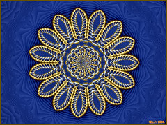 * HAPPY BLUE WEEK! * (MONKEY50) Tags: blue abstract flower color colour art colors yellow digital golden colours kaleidoscope mandala fantasy fractal paintshoppro fractals kaleidoscopes mandalas colourartaward mygearandme ringexcellence