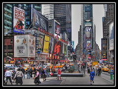 Scottish soccer in Times Square, New York (Mike G. K.) Tags: city people usa signs newyork sports statue square yahoo cityscape traffic action soccer restaurants scottish taxis virgin busy timessquare shops barcode kilts cabs budweiser filming bigapple hdr att skirts dhl mamamia bilboards photomatix tonemapped 1exp singlejpghdr dirtyrottenscondrels