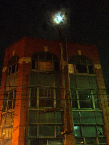 Moon over abandoned dance hall in historic Asheville, NC