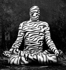 Zen Zebra (AnonymousArt) Tags: bw white selfportrait black art me lines animal fetish self canon print costume pattern artistic lotus body smooth shapes surreal encased tights stretch suit human fabric zen zebra material form tight exploration nylon position spandex lycra catsuit skintight enclosed 30d encasement stretchy unitard fullbody formfitting zentai secondskin anonymousart elastane