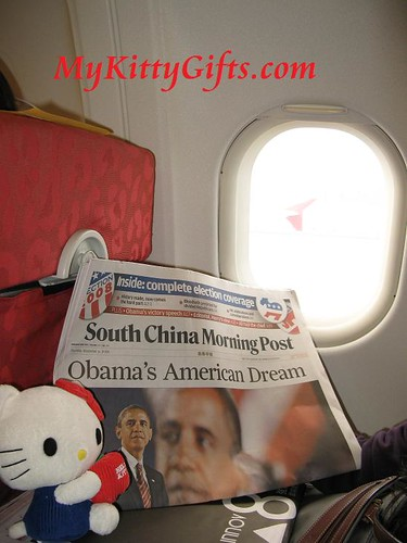 Hello Kitty Reading Newspaper in Cathay Pacific Airlines