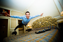 Time to go to bed (ole) Tags: man france fun hotel fly jump bed europe diesel chic royalty bedjumping stanbridge saumur ole eole bedjump