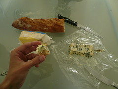French pleasure (fatseth) Tags: cheese french bread lost hand desert eating empty knife butter roquefort abandonned beurre abandonné depopulated