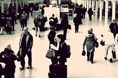 St Pancras (Che-burashka) Tags: street people london love station couple chaos candid rail busy meetings departures stpancras feelings canonef50mmf14usm 400d