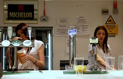 Stow Girls (Herschell Hershey) Tags: girls dog greyhound gambling london cooking beer bar warning glasses track drinking cctv racing east plastic alcohol pouring pints walthamstow carlsberg lager stow carling barmaid draught michelon