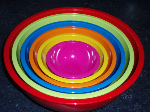A colourful array of baking bowls
