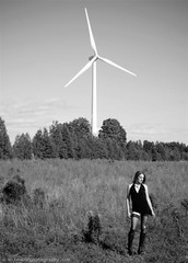 With Turbine (Mike Wood Photography) Tags: trees sky bw woman black field eos big power dress boots wind mini hose tiny arr torn treeline turbine blades allrightsreserved leia mikewood 400d aplusphoto mwpfash mikewoodphotographycom ©mikewoodphotography