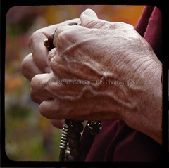 Holding Prayer Beads (designldg) Tags: red people woman india hand buddhist religion buddhism tibetan shanti bihar bodhgaya  indiasong goldstaraward articulateimages tff1