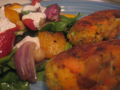 Mediterranean Roast Vegetable & Chickpea Salad w/ Carrot Rolls