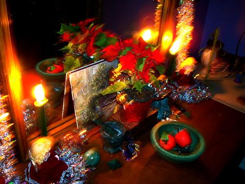 solstice altar, candlelit