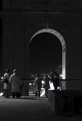 Looking (zhiehl) Tags: madrid christmas people blackandwhite bw night lights spain nikon nikond90