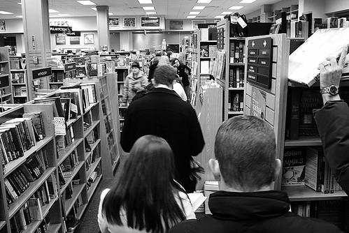 Penitents at Borders Atoning for Having Missed Amazon Deadline