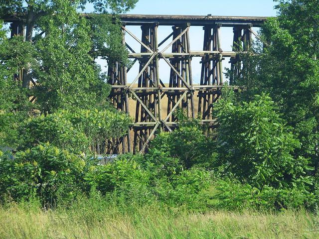 old wooden train bridge