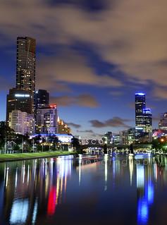 Melbourne Night Skyline, Victoria, Australia