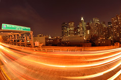 Bklyn-Qns Expwy (laverrue) Tags: nyc longexposure light cars car skyline brooklyn speed highway traffic manhattan financialdistrict brooklynbridge gothamist expressway trafficjam