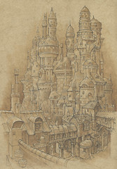 Charity City - The upper part of Charity where the rich and successful live and Jak and Peet can only visit. The higher the tower, the higher the status of its occupants.
