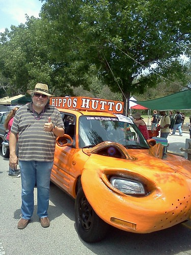 Dad with the Hutto, Hippos art car