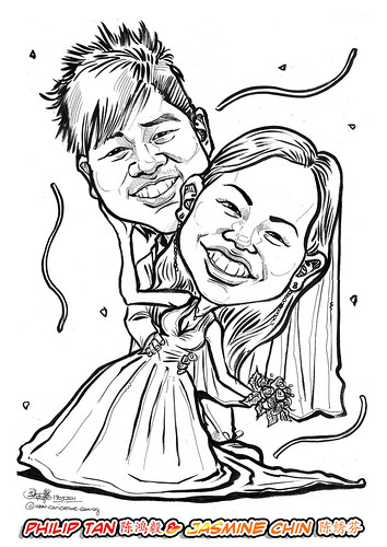 wedding couple caricatures in pen & brush